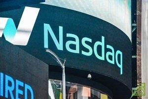 Информационная панель биржи NASDAQ, Нью-Йорк